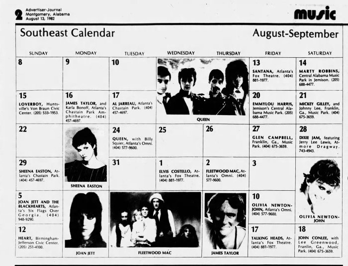 August 1982 music Alabama